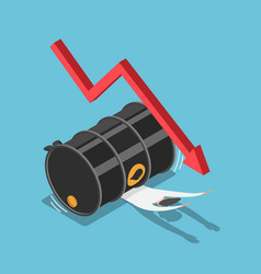 Isometric businessman has been crushed oil vector