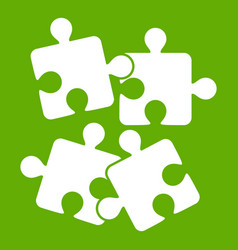 jigsaw puzzles icon green vector image