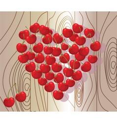 Love heart summer cherry on wood vector image