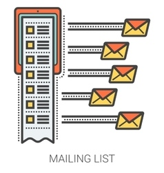 Mailing list line infographic vector