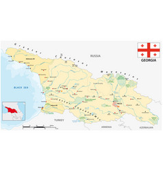 Map eastern european state georgia with flag vector