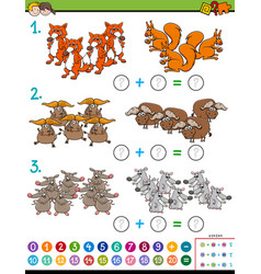 Maths addition educational task with animals vector