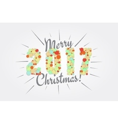 Merry Christmas Happy new year 2017 Typographic vector image