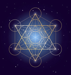 Metatron cube symbol on a starry sky elements of vector