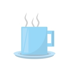 Mug coffee hot with plate icon vector