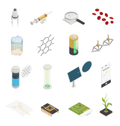 Nanotechnology nanoscience isometric elements vector