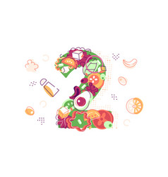 number two covered with juicy fresh vegetables vector image