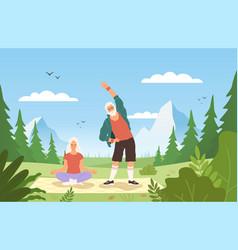 old people sport outdoor happy active elder vector image