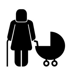 Old woman with baby cart figure silhouette vector