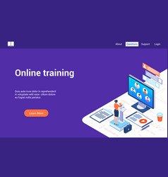 online training 3d lp template vector image