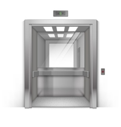 Open Chrome Metal Office Elevator with Mirror vector