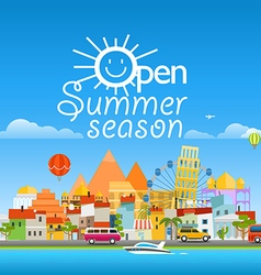 Open sunner season concept asia cityscape travel vector