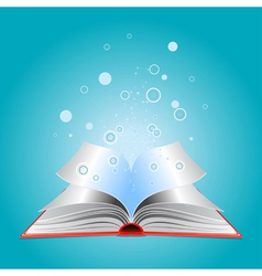 Opened book with particles vector image