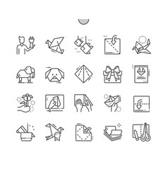 Origami well-crafted pixel perfect icons vector