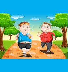 Overweight kids running vector