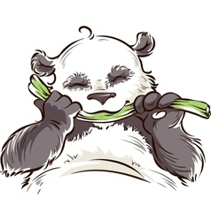 Panda with bamboo vector