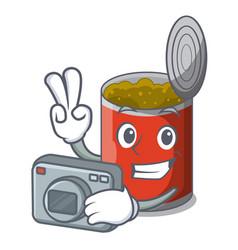 Photographer canned food on the table cartoon vector