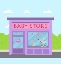Purple facade baby store building in flat design vector