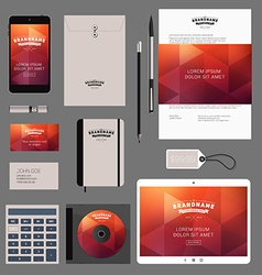 Red Corporate Identity Template Design with Thin vector image