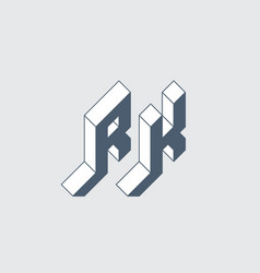 rk - 2-letter code r and k - monogram or logotype vector image