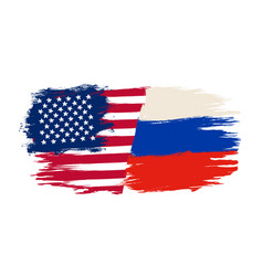 russian flag and flag usa vector image