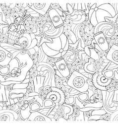 Seamless pattern of original doodle hearts vector image