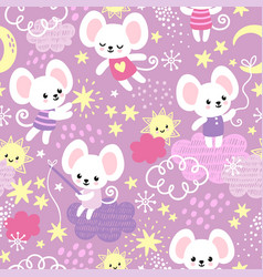 seamless pattern with a cute little mouse vector image