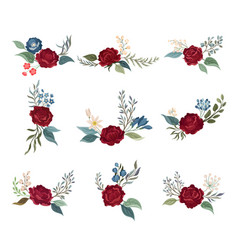 Set burgundy roses on stems with green leaves vector