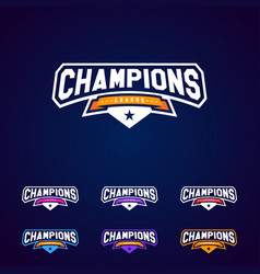 Set champion sports league logo emblem vector