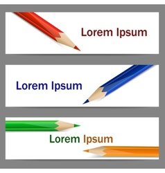 Set of banners with color pencils vector