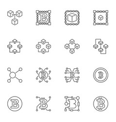 set of blockchain linear icons - block vector image