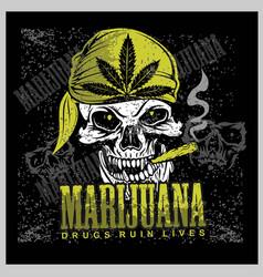Skull in bandana smoking marijuana vector