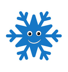 snowflake smiley baface cute winter blue snow vector image