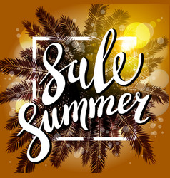 sunset on the beach summer sale background with vector image