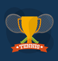 tennis trophy and rackets winner play vector image