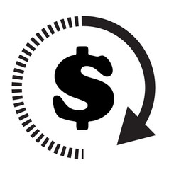 time dollar icon on white background flat style vector image