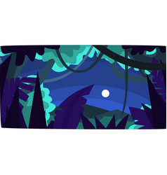 Tropical jungle with wood silhouettes and moon vector
