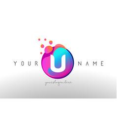 u dots letter logo with bubbles a letter design vector image