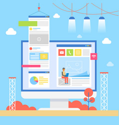 user interface building process banner vector image