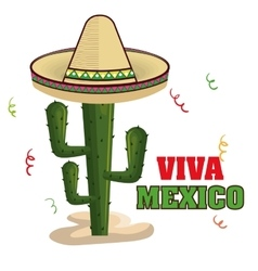 viva mexico poster cactus isolated vector image
