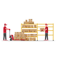 warehouse shelves with boxes and mover vector image