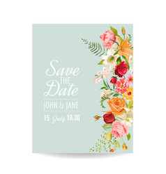 Wedding invitation card with lily flowers vector