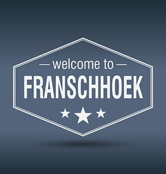 Welcome to Franschhoek hexagonal white vintage vector