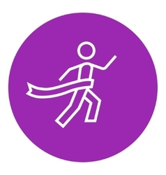 Winner crossing finish line icon vector image