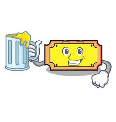 With juice ticket mascot cartoon style vector