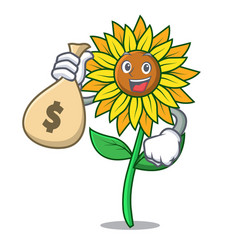 with money bag sunflower character cartoon style vector image