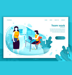 women with notebook working in office vector image