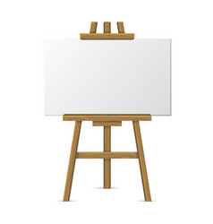 Wooden easel with blank canvas on white background vector