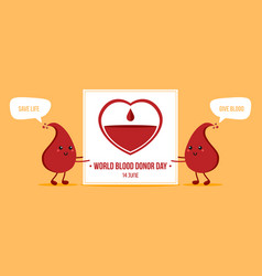 world blood donor day card vector image