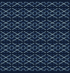 Woven ribbon indigo blue criss cross lines vector